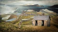 Overlooking The Sea (jarr1520) Tags: landscape sky clouds fog mist ocean sea mountains snow water textured hut stonehut