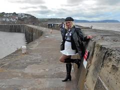 PVC by the Sea (emmalouise tgirl) Tags: emma emmalouise tgirl tranny trans blonde miniskirt boots heels pvc