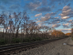 Late Day Along Tracks (George Neat) Tags: georgeneat patriotportraits neatroadtrips outside scenic scenery landscape pa pennsylvania laurelhighlands westmoreland county sky clouds irwin north huntingdon sunset
