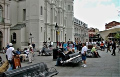 Jackson Square. the oldest neighborhood in the city of New Orleans (miosoleegrant2) Tags: jacksonsquare frenchquarter neworleans historic landmark city history louisiana america public spaces outside historical people place darmes vieux carré