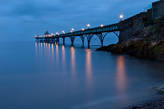 Pier Lamplight I (steve_thole) Tags: clevedonpier clevedon pier beach dusk lamplight lamps night bluehour sea landscape seascape landmark