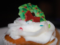 Wreath On Top Of A Cupcake. (dccradio) Tags: lumberton nc northcarolina robesoncounty indoors indoor inside food eat snackdessert cupcake frosting icing wreath cake dessert sweets treat christmas holiday nikon d40 dslr december friday fridaynight fridayevening evening goodevening winter