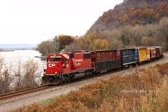 CP 6231, NB, DAKOTA, MN, 11-3-19 (TRAINFLAMES) Tags: canadianpacific cp emd sd60 freighttrain train mississippiriver dakota minnesota
