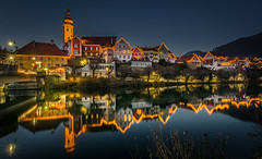 Christmas decoration (gregor158) Tags: austria österreich europe frohnleiten christmas weihnachten decoration river water reflection landscape lights winter trees tree places travel