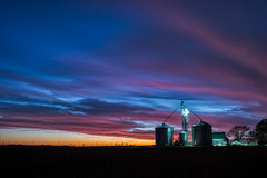 Late to the party... (tquist24) Tags: hdr indiana nikon nikond5300 outdoor clouds color colorful evening farm geotagged grainsilo outside rural sky sunset longexposure