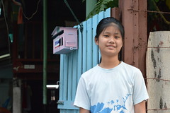 pretty preteen girl in front of her house (the foreign photographer - ฝรั่งถ่) Tags: pretty preteen girl child gate khlong thanon portraits bangkhen bangkok thailand nikon d3200
