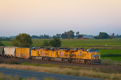 Summer Nights along the West Valley (Jake Miille) Tags: unionpacific unionpacificrailroad californianorthern cfnr westvalleysubdivision maxwellcalifornia farmfields scenic dusk sunset trains railroad railway