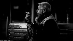 Homeless this Christmas. (Neil. Moralee) Tags: neilmoralee homeless home less man street old smoke smoker cigarette cold dark alone fear neglected dejected rough sleeper black white mono monochrome blackandwhite blackwhite neil moralee bw blackbackground candid olympus omd em5 charity help poverty deperate needy poor smoking