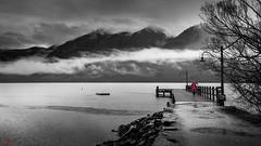 New Zealand Queenstown (eggwah123) Tags: newzealand queenstown lake selectivecolour coloursplash blackandwhite lightroomblackandwhite sony sonya7rii a7rii fe1635mm fe1635mmf4 sonyzeiss zeiss clouds rainydays rain travel