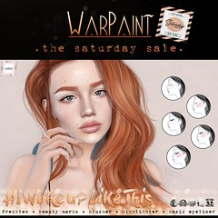 WarPaint @ TheSaturdaySale (Mafalda Hienrichs) Tags: warpaint war paint saturday sale promotion discount cosmetic applier catwa genus project lelutka omega bakesonmesh bom freckles mainstore