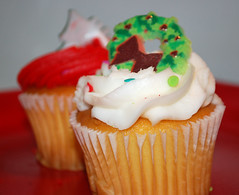 Pair Of Christmas Cupcakes. (dccradio) Tags: lumberton nc northcarolina robesoncounty indoors indoor inside food eat snackdessert cupcake frosting icing christmastree cake dessert sweets treat christmas holiday nikon d40 dslr december friday fridaynight fridayevening evening goodevening winter wreath