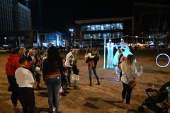 Friday in the park (Andrew Penney Photography) Tags: downtownokc scissortailpark okc park downtown 405 night nighttime lights buildings art scissortail oklahomacity sugarplumpromenade inspyralcircusentertainment snowkingqueen