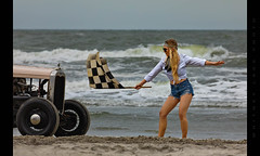 Flag Girl Gets it Goin (Whitney Lake) Tags: babeorama chick pinup girl ocean atlantic eastcoast southjersey jerseyshore hotrod retro antique vintage dragrace beach shore newjersey wildwoods 2019 theraceofgentlemen trog