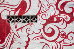 Billows (A Different Perspective) Tags: bali indonesia seminyak detail eye face red street streetart tooth vent wall white
