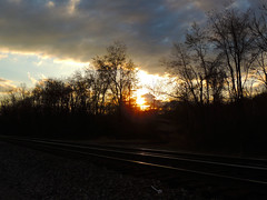 Sunset on the Rails (George Neat) Tags: georgeneat patriotportraits neatroadtrips outside scenic scenery landscape pa pennsylvania laurelhighlands westmoreland county sky clouds irwin north huntingdon sunset