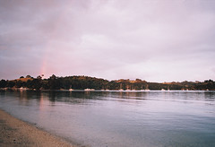 Sandspit Sunset (and a little rainbow) (DawnChapman) Tags: 35mm analog film fuji fujifilm sandspit bay sunset rainbow auckland newzealand