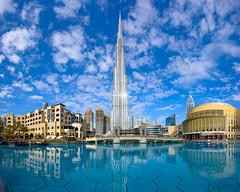 Burj Khalifa (Michael Abid) Tags: dubai burj khalifa skyline landmark uae emirates city skyscraper architecture modern cityscape famous travel downtown tower day blue sky clouds gulf tourism building arab arabian asia reflection