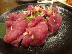 Wagyu beef with scallion @Marumichi, Tokyo (Phreddie) Tags: bbq yakiniku horumon restaurant tokyo japan meat party wagyu beef drink happy night dinner