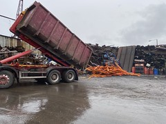 """Yet another load of nearly new racking getting scrapped (Mark Schofield @ JB Schofield) Tags: road transport haulage freight truck wagon lorry commercial vehicle hgv lgv haulier contractor scrap scrapyard yard metal processor merchant cast iron schofield linthwaite huddersfield """"jb schofield"""" """"metal merchants"""" recyclers recycling recyclers"""" steel copper """"schofield huddersfield"""" hooklift hookloader scraphandler sennebogen 825e 830e"""