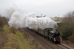 Drifting smoke (Andrew Edkins) Tags: explored flickr explore thewhiterose 7029 cluncastle castleclass greatwestern gwr bartonunderneedwood staffordshire england uksteam steamtrain vintagetrains canon railwayphotography december 2019 winter smoke exhaust light geotagged travel trip