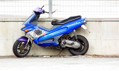 HFF ! (fotomie2009) Tags: moto motorino motorcycle high key fence rete blue sfondo bianco white background hff