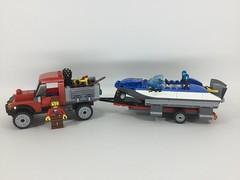 LEGO City - Get fishing! - MOCs (60071+60176) (Sergey Tulin) Tags: city truck lego 60071 60176 moc самоделка boat trailer