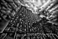 Architecture (Allan Jones Photographer) Tags: beckleypoint plymouthskyscraper architecture building tallbuilding monochrome bw blackandwhite arty artistic hdr windows trees atmospheric cityofplymouth plymouth devon uk sky clouds wideangle allanjonesphotographer canon5div 14mm samyangf2814mm