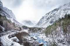 Rauma River, A Winter Wonderland (jamesromanl17) Tags: outdoors mountain winter snow sky tree river cold åndalsnes norway rauma train tracks cloud cloudscape skies mountains forest trees stream water ice light scandinavia sun sunshine sunlight christmas