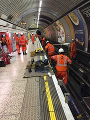Rails being changed at Baker Street (03) (Funny Cyclist) Tags: london underground tube rail replacement maintenance night orange ppe