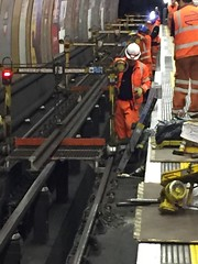 Rails being changed at Baker Street (01) (Funny Cyclist) Tags: london underground tube rail replacement maintenance night orange ppe