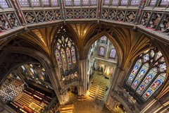 Ely Cathedral Down from Octagon Tower (yoosangchoo) Tags: ely uk cathedral tower octagon cambridge interior view light arch wood windows