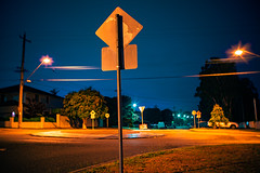 Roadside road sign roundabout (commontropes) Tags: sonya7rii sony a7rii sonyalpha lensbaby burnside burnside35 35mm longexposure night road roads sign roundabout