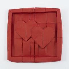 Two Hearts, Framed (Michał Kosmulski) Tags: origami heart hearts frame tessellation wedding marriage love valentine stvalentinesday michałkosmulski biotopepaper red