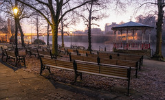 The Bandstand - Misty Morning (Rob Pitt) Tags: groves chester queens park suspension bridge cheshire winter sunrise cold misty mist festive banstand bench cobbles