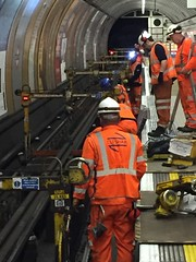 Rails being changed at Baker Street, (02) (Funny Cyclist) Tags: london underground tube rail replacement maintenance night orange ppe