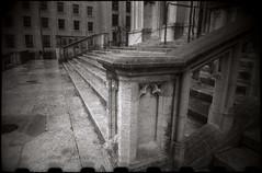 Il ne s'est rien passé sur cet escalier en 1905 (Gauthier V.) Tags: toycamera hackedlens escalier architecture bruxelles régiondebruxellescapitale belgium bw blackwhite