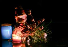 Santa's little helper? (Elisafox22) Tags: elisafox22 sony ilca77m2 100mmf28 macro macrolens telemacro lens smileonsaturday hsos lightanddark hcs clichesaturday candles light blackvelvet dark shadows elf helper smile christmas decorations baubles white fir branch needles twigs indoors stilllife tabletop elisaliddell©2019 pineneedles