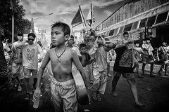 The Mood Of The 9 Emperor - Photo 30 (Mio Cade) Tags: nineemperor vegetarianfestival reportage ritual street religion religious tao phuket thailand asia boy men sedan hot firecrackers monochrome child