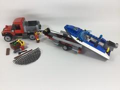 LEGO City - Get fishing! - MOCs (60071+60176) (Sergey Tulin) Tags: city lego moc 60071 60176 самоделка boat truck trailer