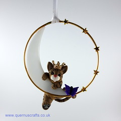 Little Princess Ocecat on Glass Moon (Quernus Crafts) Tags: polymerclay quernuscrafts cute phoenixglass glassmoon cat ocecat crown princess butterfly