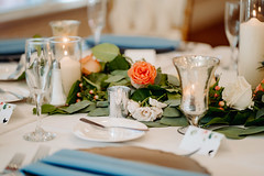 The Anderson Wedding | Tessa June Photography (FestivitiesMN) Tags: pcatwedding bearpathwedding floral bouquets centerpiece cylindervase candles votives linen champagne wave