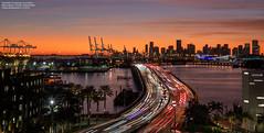 Macarthur Causeway at sundown (Carlos Bustamante Restrepo) Tags: miamibeach florida unitedstatesofamerica sunset sundown tripod
