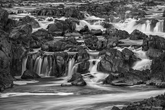 Rocks & Water (b&w) (jiroseM43) Tags: greatfalls greatfallsnationalpark waterfalls mono m43 olympus lumixgvario35100f28 em1marii omdem1markii rivers potomacriver water
