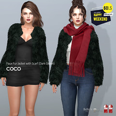 60L$ Happy Weekend @COCO (cocoro Lemon) Tags: coco 60l happyweekend fauxfur jacket scarf secondlife fashion mesh maitreya slink belleza