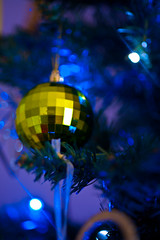 2019-12-n10-0140 (dolphinpix) Tags: xmas christmas tree festive decoration marco zoom close gold sparkle magic magical season gree blue hanging gillitter wonder special