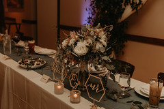 Wedding at Pinstripes (FestivitiesMN) Tags: floral wedding ceremony reception bride groom bridal party organic bouquet centerpiece candles pipe drape
