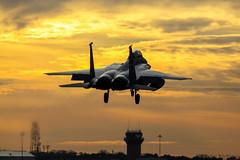 F-15E Strike Eagle 91-0315 - 492nd Fighter Squadron RAF Lakenheath (stu norris) Tags: f15estrikeeagle 910315 492ndfightersquadron raflakenheath usaf usafe aviation sunset dusk orange sky outside outdoors light coth5