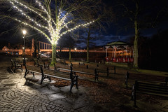 The Bandstand - Festive Evening (Rob Pitt) Tags: groves chester queens park suspension bridge cheshire winter cold night festive banstand bench cobbles christmas lights