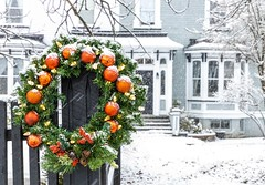 The Christmas Wreath (Karen_Chappell) Tags: christmas wreath green snow winter december noel xmas holiday stjohns downtown fence red white blue house home canada newfoundland nfld atlanticcanada eastcoast weather avalonpeninsula snowing snowy cold ornaments decor decoration city urban
