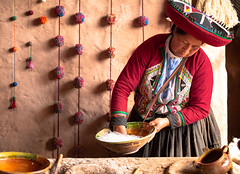 0129_untitled_620918-Edit (Deb Schillbach) Tags: green peru travel colors people street market cooking weaving texture abstract alpaca animal ladies andean food textile building flowers window hats pattern corn smile photography canon cusco